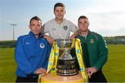 30 May 2013; Republic of Ireland International Shane Long, with Dean Gibbons, left, Kilbarrack United, and Lee Murphy, Sheriff YC, in attendance at a captains photocall in advance of the FAI Junior Cup Final, in association with Umbro and Aviva, which takes place in the Aviva Stadium on Sunday 2nd June. Gannon Park, Malahide, Co. Dublin. Picture credit: David Maher / SPORTSFILE