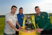 30 May 2013; Republic of Ireland International Shane Long, with Dean Gibbons, centre, Kilbarrack United, and Lee Murphy, Sheriff YC, in attendance at a captains photocall in advance of the FAI Junior Cup Final, in association with Umbro and Aviva, which takes place in the Aviva Stadium on Sunday 2nd June. Gannon Park, Malahide, Co. Dublin. Picture credit: David Maher / SPORTSFILE