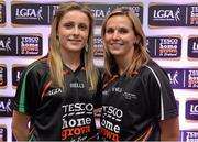 30 May 2013; Fionnuala McKenna, left, and Sinead McCleary, members of the TESCO HomeGrown NFL Division 3 Team of the League 2013. 2013 TESCO HomeGrown Ladies National Football Team of the League Presentations. Croke Park, Dublin. Picture credit: Barry Cregg / SPORTSFILE