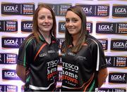 30 May 2013; Emma Kelly, left, and Clare Timoney, Antrim, members of the TESCO HomeGrown NFL Division 4 Team of the League 2013. 2013 TESCO HomeGrown Ladies National Football Team of the League Presentations. Croke Park, Dublin. Picture credit: Barry Cregg / SPORTSFILE