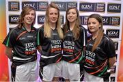 30 May 2013; Offaly players, from left, Siobhan Flannery, Lorraine Kenna, Mairead Daly, and Emma Corcoran, members of the TESCO HomeGrown NFL Division 4 Team of the League 2013. 2013 TESCO HomeGrown Ladies National Football Team of the League Presentations. Croke Park, Dublin. Picture credit: Barry Cregg / SPORTSFILE