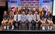 30 May 2013; The Ulster representatives in the 2013 TESCO HomeGrown Ladies National Football Teams of the League, back row, from left, Emma Kelly, Antrim, Sinead Greene, Cavan, Karen Gutherie, Donegal, Clara Fitzpatrick, Down, Emma Joyce, Down, Fionnuala McKenna, Armagh, Claire Timoney, Antrim, and Edel Campbell, Fermanagh. Front row, from left, Sinead McCleary, Armagh, Caoimhe Mohan, Monaghan, Gerry Doherty, Paul Swift, John Hoe Brady, Philip O'Hehir, Grainne McNally, Monaghan, and Christina Reilly, Monaghan. Selected but not pictured, Catherine Mullan, Antrim, Caroline O'Hanlon, Armagh, and Sinead Fegan, Down. 2013 TESCO HomeGrown Ladies National Football Team of the League Presentations. Croke Park, Dublin. Picture credit: Barry Cregg / SPORTSFILE