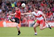 2 June 2013; Keith Quinn, Down, in action against Charlie Kielt, Derry. Ulster GAA Football Senior Championship, Quarter-Final, Derry v Down, Celtic Park, Derry. Picture credit: Oliver McVeigh / SPORTSFILE
