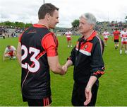 2 June 2013; Danny Hughes, Down, is congratulated by  Derry manager Brian McIver at the end of the game. Ulster GAA Football Senior Championship, Quarter-Final, Derry v Down, Celtic Park, Derry. Picture credit: Oliver McVeigh / SPORTSFILE