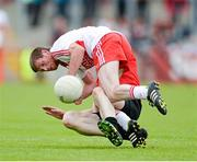 2 June 2013; Ryan Scott, Derry, in action against Brendan McArdle, Down. Ulster GAA Football Senior Championship, Quarter-Final, Derry v Down, Celtic Park, Derry. Picture credit: Oliver McVeigh / SPORTSFILE