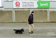 """2 June 2013; Down supporter Liam O'Reilly from Warrenpoint, Co Down, along with his dog """"jet"""" out for a walk at Celtic Park  before the game. Ulster GAA Football Senior Championship, Quarter-Final, Derry v Down, Celtic Park, Derry. Picture credit: Oliver McVeigh / SPORTSFILE"""