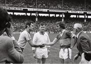 21 August 1977; Dublin captain Tony Hanahoe and Kerry captain Ger O'Keeffe shake hands in the company of referee Seamus Murray before the game. GAA Football All-Ireland Senior Championship Semi-Final, Dublin v Kerry, Croke Park, Dublin. Picture credit: Connolly Collection / SPORTSFILE