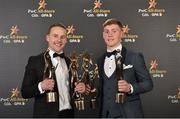 3 November 2017; Mayo footballer Andy Moran, left, with his Footballer of the Year and All Star awards and Dublin footballer Con O'Callaghan with his Young Footballer of the Year and All Star awards during the PwC All Stars 2017 at the Convention Centre in Dublin. Photo by Seb Daly/Sportsfile
