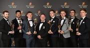 3 November 2017; Dublin football manager Jim Gavin, with his All-Star winning players, from left, Jack McCaffrey, Cian O'Sullivan, Con O'Callaghan, Dean Rock, Paul Mannion, James McCarthy and Michael Fitzsimons during the PwC All Stars 2017 at the Convention Centre in Dublin. Photo by Seb Daly/Sportsfile