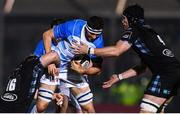 3 November 2017; Josh Murphy of Leinster is tackled by Rob Harley, left, and Tim Swinson of Glasgow Warriorsduring the Guinness PRO14 Round 8 match between Glasgow Warriors and Leinster at Scotstoun in Glasgow, Scotland. Photo by Ramsey Cardy/Sportsfile