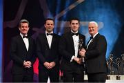 3 November 2017; Galway hurler Daithí Burke is presented with his PwC All Star award from Uachtarán Chumann Lúthchleas Gael Aogán Ó Fearghail, in the company of Feargal O'Rourke, left, Managing Partner, PwC, and David Collins, GPA President during the PwC All Stars 2017 at the Convention Centre in Dublin. Photo by Brendan Moran/Sportsfile