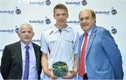 8 June 2013; Cillian Fahy, Fr. Matthews, Co.Cork, is presented with his Under 18 Boy's International Cap by Ger Tarrant, I.A.C, left, and Gerry Kelly, President of Basketball Ireland. Basketball Ireland Annual Awards 2012/2013, National Basketball Arena, Tallaght, Dublin. Picture credit: Barry Cregg / SPORTSFILE