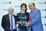 8 June 2013; Lorna McNamee, St. Gerads Bray, Co.Wicklow, is presented with her Under 18 Girls International Cap by Ger Tarrant, I.A.C, left, and Gerry Kelly, President of Basketball Ireland. Basketball Ireland Annual Awards 2012/2013, National Basketball Arena, Tallaght, Dublin. Picture credit: Barry Cregg / SPORTSFILE