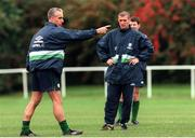 11 November 1999; Mick McCarthy Republic of Ireland Manager issues instructions, with Roy Keane in the backround, Republic of Ireland training session, Tolka Rovers, Dublin. Soccer. Picture credit; David Maher/SPORTSFILE