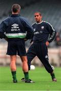 12 November 1999; Mick McCarthy Republic of Ireland Manager speaks with Phil Babb during the Republic of Ireland training session at Lansdowne Road, Dublin. Soccer. Picture credit; David Maher/SPORTSFILE