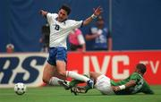 18 June 1994; Phil Babb of Republic of Ireland tackles Dino Baggio of Italy during the FIFA World Cup 1994 Group E match between Republic of Ireland and Italy at Giants Stadium in New Jersey, USA. Photo by Ray McManus/Sportsfile