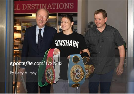 Undisputed Female World Lightweight Katie Taylor arrival at Dublin Airport