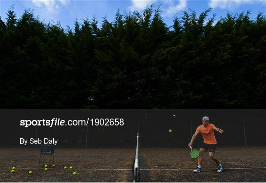 Tennis player Simon Carr training in Isolation