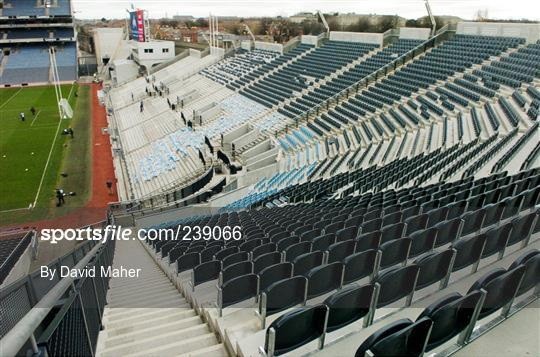 Bucket seats installed at Croke Park for the upcoming soccer international.