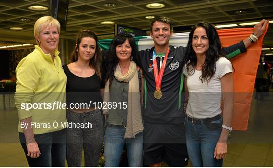 Homecoming of Thomas Barr from the World University Games in Gwangju South Korea