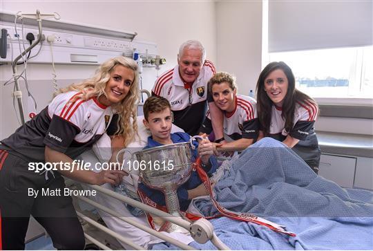 Victorious Cork Ladies Gaelic team visit Crumlin Children's Hospital