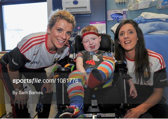Victorious Cork Ladies Gaelic team visit Temple Street Hospital