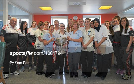 Victorious Cork Ladies Gaelic team visit Temple Street Hospital